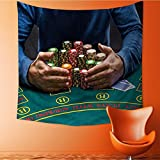 AuraiseHome Wall Tapestry Home Decor poker player taking poker chips after winning Tapestries for dorms32W x 32L Inch