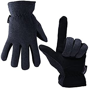 OZERO Deerskin Suede Leather Palm and Polar Fleece Back with Heatlok Insulated Cotton Layer Thermal Gloves, X-Large - Grey-Black