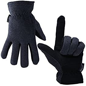 Winter Gloves,OZERO-20°F Cold Proof Thermal Men's Glove - Deerskin Suede Leather Palm and Polar Fleece Back with Heatlok Insulated Cotton Layer-Keep Warm in Cold Weather - Denim/Tan/Gray (S/M/L/XL)