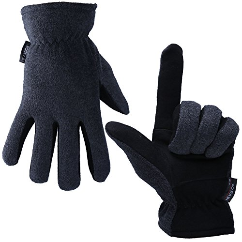 (OZERO Deerskin Suede Leather Palm and Polar Fleece Back with Heatlok Insulated Cotton Layer Thermal Gloves, Medium - Grey-Black)