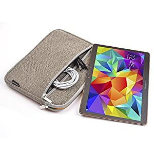 Case Star 10 Inch Bohemian Style Canvas Fabric Carrying Case Protective Sleeve Zipper Bag with Anti-Shock EVA Foam Shock-Resistant Padding for Tablets (Horizontal Type - Brown Woven)
