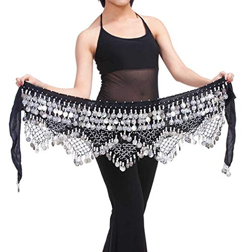 Zoestar Silver Coins Belly Dance Hip Scarf Multiplayer Hip Scarves Skirt Triangular Belly Dancing Belt for Women and Girls