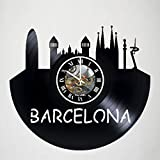 Barcelona City - Spain - Vinyl Wall Clock - Skyline - Poster - Sticker - Get unique living room wall decor - Gift idea for friends, teens, men and women, girls and boys - Unique Art Design Gifts