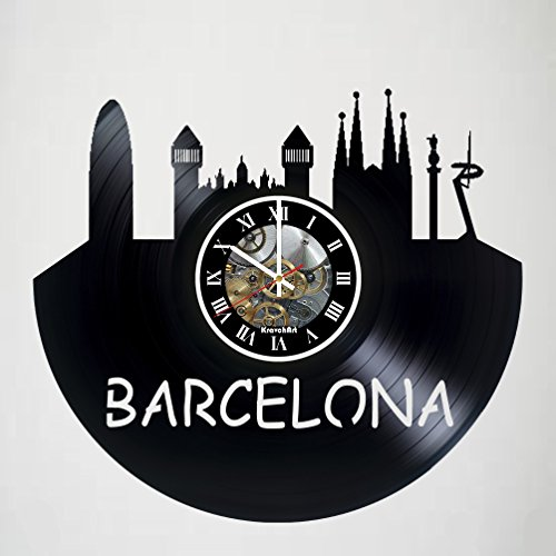 Barcelona City - Spain - Vinyl Wall Clock - Skyline - Poster - Sticker - Get unique living room wall decor - Gift idea for friends, teens, men and women, girls and boys - Unique Art Design Gifts by KravchArt