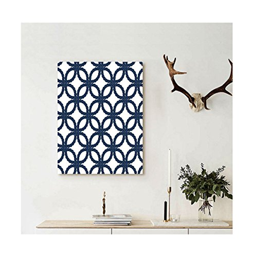 Blue Mountain Geometric Wallpaper (Liguo88 Custom canvas Navy Blue Decor Collection Geometric Twisted Woven Rope Motifs Artprint with Oriental Ethnic Patterns Design Home Wall Hanging Dark Blue)