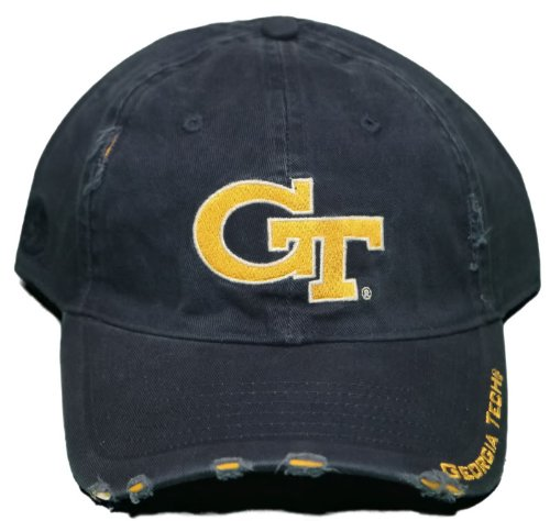 Football Signature Jacket - NEW!! Georgia Tech Yellow Jackets Buckle Back Hat - Pre-Distressed Cap - Navy