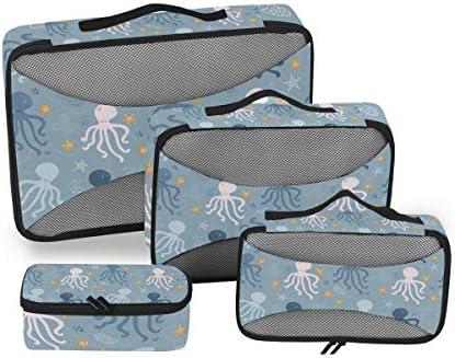 ホワイトブルータコ 荷物パッキングキューブオーガナイザートイレタリーランドリーストレージバッグポーチパックキューブ4さまざまなサイズセットトラベルキッズレディース