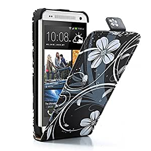 JUJEO Elegant Protective Vertical Flip Leather Cover for HTC One Mini-Non-Retail Packaging-Flower