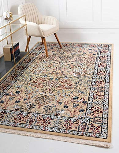 Unique Loom Narenj Collection Classic Traditional Hunting Scene Textured Beige Area Rug 10 0 x 13 0