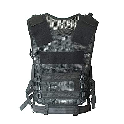 Black Tactical Combat Vest with Holster Mesh Breathable Material Adjustable Waist for Airsoft Paintball Training Adults Men