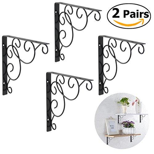 durable service winomo 4pcs shelf brackets wall mounted floral shelf brackets black