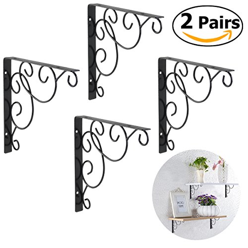 WINOMO 4pcs Shelf brackets Wall Mounted Floral Shelf Brackets Black (Brackets Decorative)