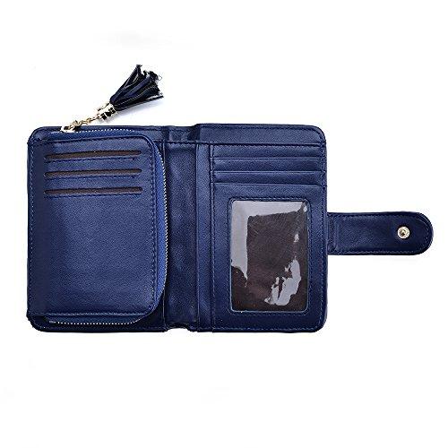 VRLEGEND Women's Wallet PU Leather Wallet Elegant Lady Purse Large Capacity with Zipper (Blue)