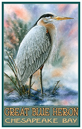 Chesapeake Bay Great Blue Heron Travel Art Print Poster by Dave Bartholet (12
