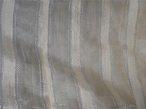 Champagne striped silk organza fabric 44