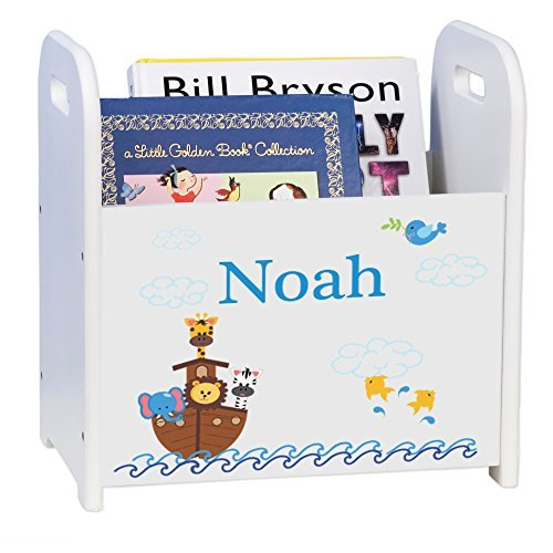 MyBambino Personalized Noahs Ark White Book Caddy Magazine Rack