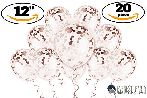 Rose Gold Confetti Balloons - Rose Gold Balloons - PREFILLED 20 Pack 12