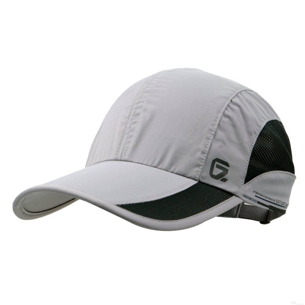 GADIEMKENSD Quick Dry Sports Hat Lightweight Breathable Soft Outdoor Run Cap (Classic up, Lightgrey