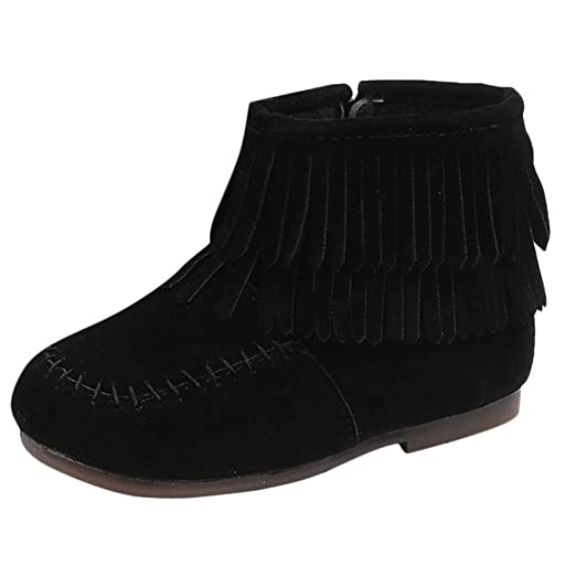 Kids Toddler Baby Girls Boys Moccasins Ankle Booties Winter Double Fringe Tassel Martin Boots Solid Zip
