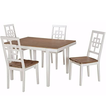 1a3cf935cc EFD 5PC Dining Room Set 4Seat Two Tone White Brown Modern Rectangular Wooden  Small Formal Casual
