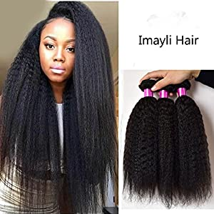 "Imayli 7A Grade Yaki Straight Hair Brazilian Hair Weave 3 Bundles Human Hair Extensions Natural Color(16""18""20"")"