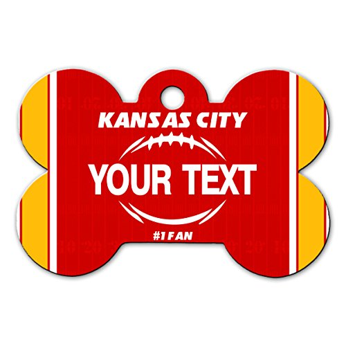 BleuReign(TM Personalized Custom Name Football Kansas City License Plate Bone Shaped Metal Pet ID Tag with Contact Information