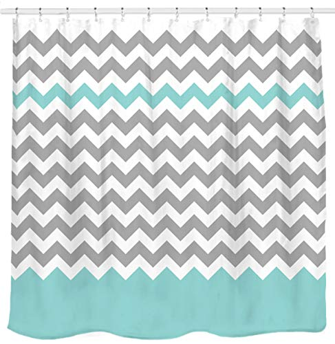 Teal and Grey Chevron Shower Curtain