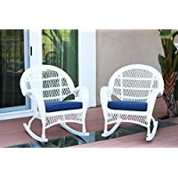 Jeco W00209-R_2-FS011-CS Wicker Rocker Chair Blue Cushion, Set of 2, White