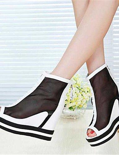 GGX/ Damenschuhe-High Heels-Lässig-PU-Blockabsatz-Absätze-Schwarz / Weiß white-us6.5-7 / eu37 / uk4.5-5 / cn37