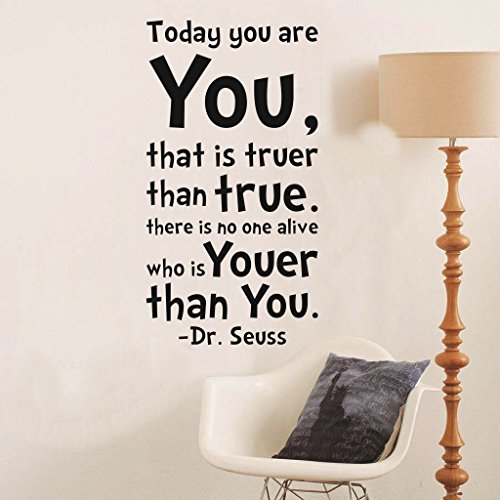 (Removable Quotes and Saying Dr. Seuss Today You are You That is Truer Than True Transfers Murals Love Baby Kids Bedroom Children School Art Wall Decals Stickers (Black Words))