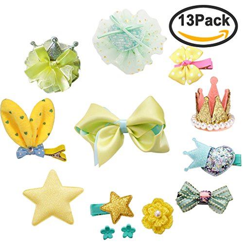 Yariew Cute Hair Clips Barrettes, 14 Pcs Bowknot Crown Star Heart Flower Hair Barrette Hair Bows Clips for Baby Girls Kids Toddler, Photography Pops Costume Party Birthday Gift (Color 2)