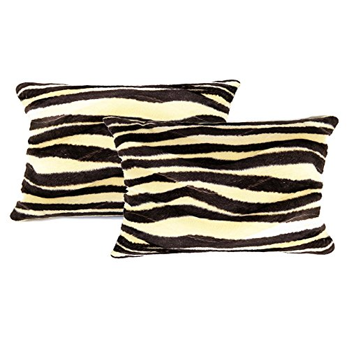 "WOMHOPE 2 Pcs - 13"" x 19"" Faux Fur Cushion Decorative Pillow Covers Animal Theme Print Style Square Throw Pillowcase Cushion Covers for Sofa,Bed,Chair,Auto Seat (13"" x 19"" BM )"