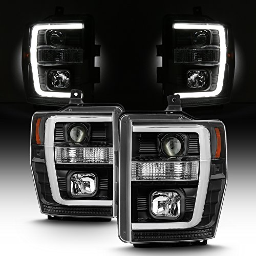 (For 2008-2010 F250 F350 F450 F550 Superduty Black LED Tube Projector Headlights Driver+Passenger Pair)