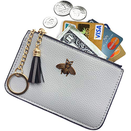 Purse Zip Coin Leather - AnnabelZ Women's Coin Purse Change Wallet Pouch Leather Card Holder with Key Chain Tassel Zip (Light Blue)