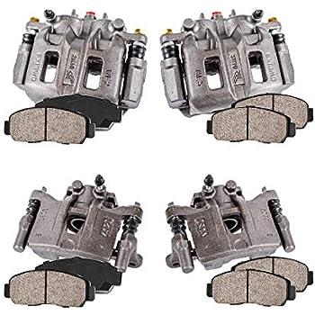 Callahan CCK04013 4 Hardware Brake Kit Ceramic Brake Pads REAR Premium Original Calipers FRONT