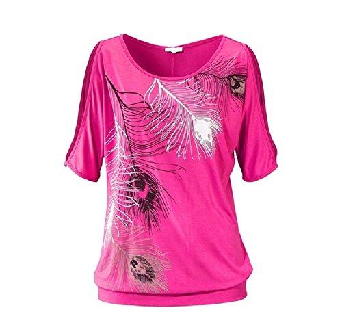 BienBien T Shirt Epaule Nue Femme Plume Imprim