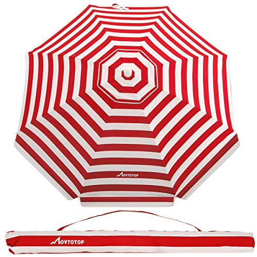 MOVTOTOP 6.5ft Beach Umbrella with Tilt Aluminum Pole, UV 50 Protection, Portable Beach Sun Shelter for Beach and Outdoor