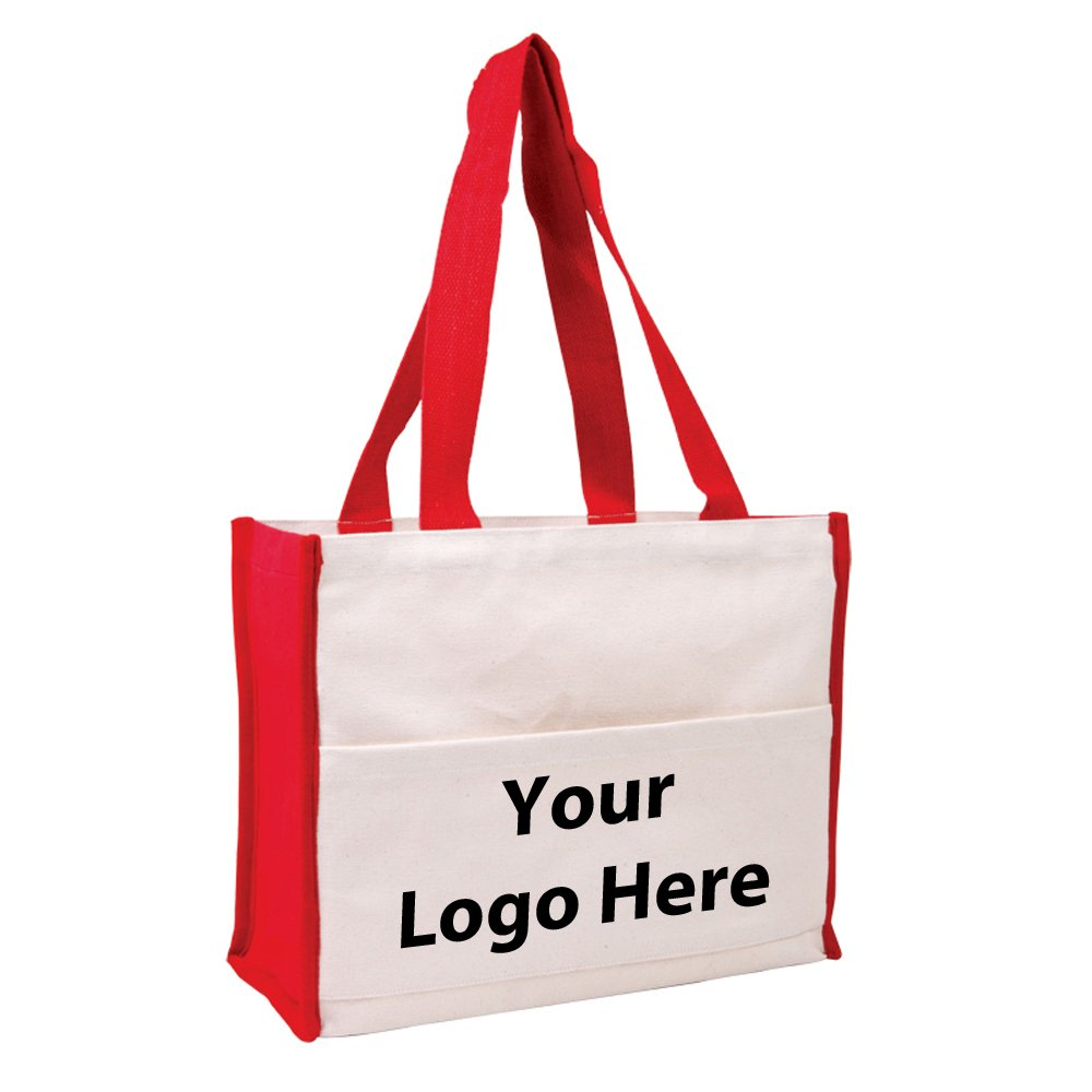 Cotton Gusset Accent Box Tote - 50 Quantity - $8.15 Each - PROMOTIONAL PRODUCT / BULK / BRANDED with YOUR LOGO / CUSTOMIZED