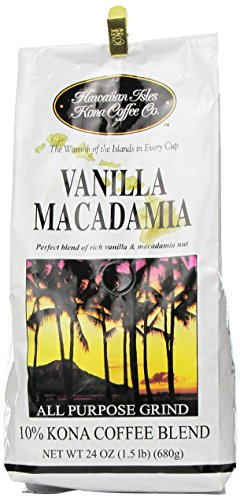 (Hawaiian Isles Coffee Co. Vanilla Macadamia 24 oz grind)
