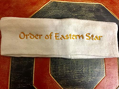 (Order Of Eastern Star Ladies Fleece Headband White With Gold)