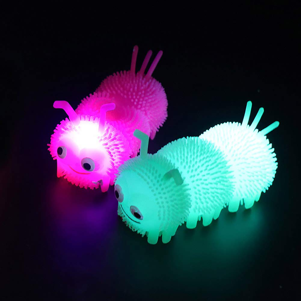Move on Kids Cartoon Caterpillar LED Flashing Puffer Ball Squeeze Decompression Children Toy Random Color