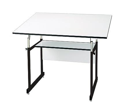 Alvin WMJ48-3-XB Workmaster Jr. Table, Black Base White Top 36 x 48