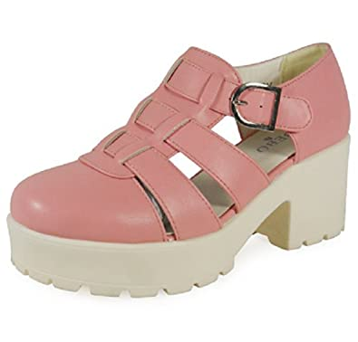 6b23eee0d6b Loud Look New Womens Ladies Low Heel Tread Flatforms Cleated Sole Shoes  Chunky Sandals Size 3-8 UK