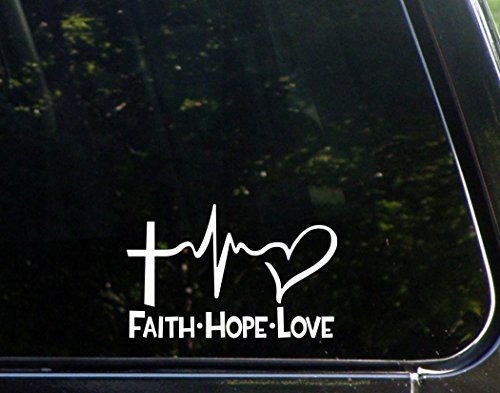 (Diamond Graphics Faith Hope Love Die Cut Decal Bumper Sticker for Windows, Cars, Trucks, Etc. (White, 6