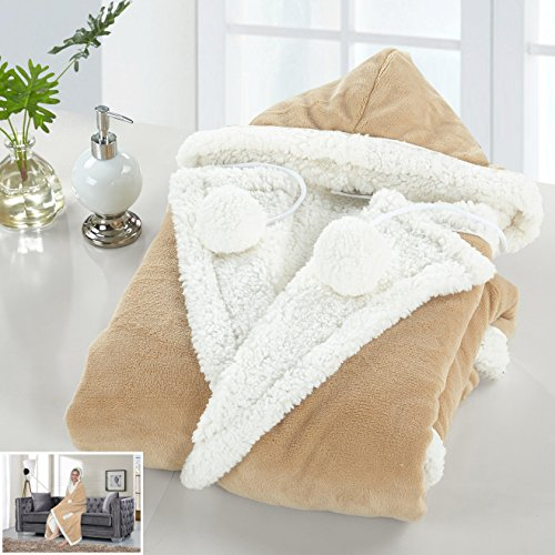 - Chic Home 1 Piece Nava Micro mink Sherpa lined design 51x71 Snuggle Hoodie Camel