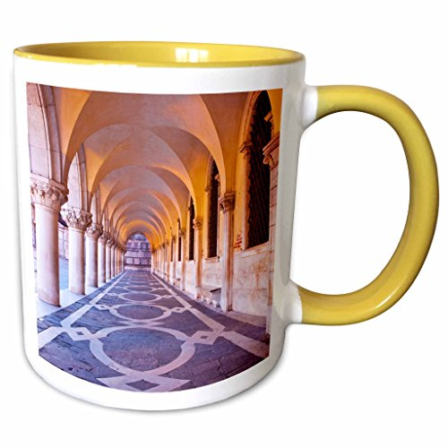 3dRose Danita Delimont - Venice - Arch at San Marcos Square, Venice, Italy - EU16 TEG0322 - Terry Eggers - 11oz Two-Tone Yellow Mug - Marcos Outlets At San