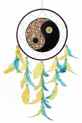 Rooh Dream Catcher ~ Canvas Yin Yang~ handmade hangings for home Decor, Wall hangings, garden, car, outdoor, bedroom … (black)