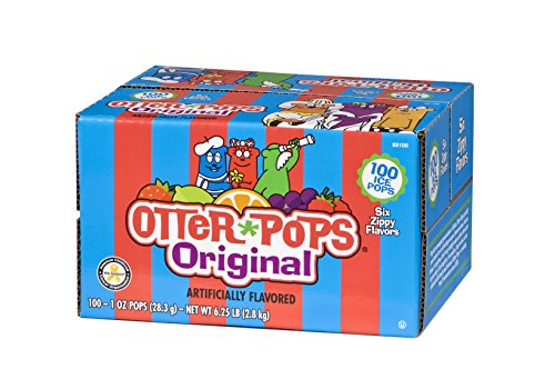 Otter Pops Ice Pops - Gluten & Fat Free Ice Pops, Delicious Frozen Treats Include Strawberry, Blue Raspberry, Grape, Lemon-Lime, Punch & Orange Flavors, 100Count of 1 oz. Pops