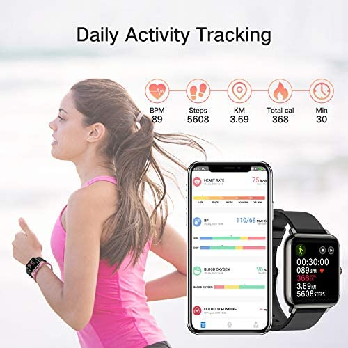 Smart Watch, Fitness Tracker with 1.4inch Full Touch Screen, Smartwatch for Men Women Sleep Monitor Step/Calorie Counter Activity Tracker Stopwatch, IP67 Waterproof Fitness Watch for iOS, Android 4