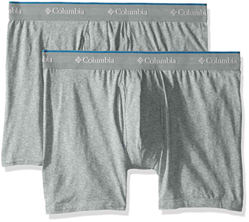 Columbia Mens 2 Pack Cotton Stretch Boxer Brief  Grey Heather Gray  Small